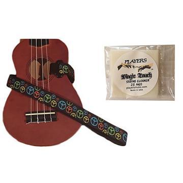 Custom Masterstraps Peace Sign Neon Ukulele Strap Pack w/Bonus Ukulele String Cleaning Wipes