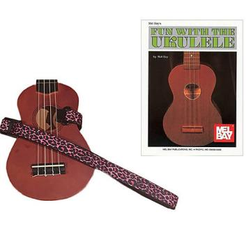Custom Masterstraps Pink Leopard Ukulele Strap Pack w/Bonus Ukulele Book Fun With The Ukulele