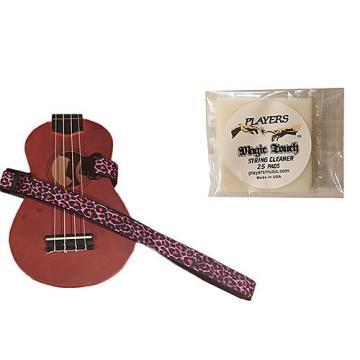 Custom Masterstraps Pink Leopard Ukulele Strap Pack w/Bonus Ukulele String Cleaning Wipes