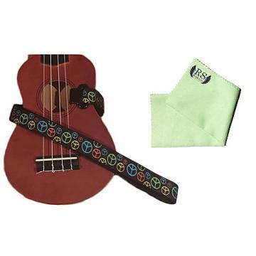 Custom Masterstraps Peace Sign Neon Ukulele Strap Pack w/Bonus Ukulele Cleaning Cloth
