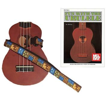 Custom Masterstraps Tiki Hawaiian Ukulele Strap Pack w/Bonus Ukulele Book Fun With The Ukulele
