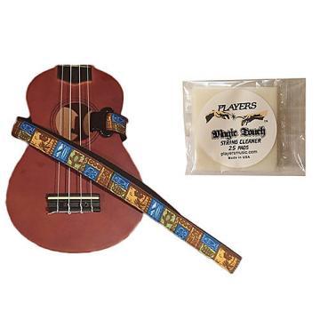 Custom Masterstraps Tiki Hawaiian Ukulele Strap Pack w/Bonus Ukulele String Cleaning Wipes