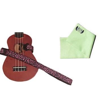 Custom Masterstraps Pink Leopard Ukulele Strap Pack w/Bonus Ukulele Cleaning Cloth