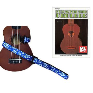 Custom Masterstraps Hawaiian Flower Blue Ukulele Strap Pack w/Bonus Ukulele Book Fun With The Ukulele