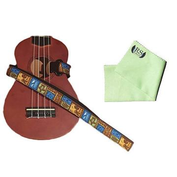 Custom Masterstraps Tiki Hawaiian Ukulele Strap Pack w/Bonus Ukulele Cleaning Cloth