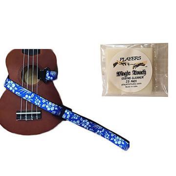Custom Masterstraps Hawaiian Flower Blue Ukulele Strap Pack w/Bonus Ukulele String Cleaning Wipes