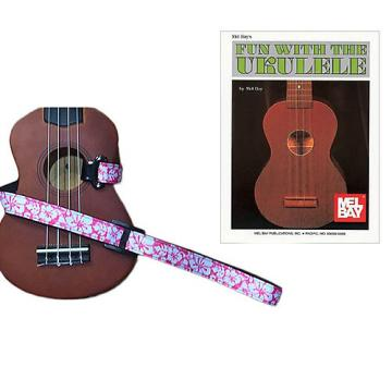 Custom Masterstraps Hawaiian Flower Pink Ukulele Strap Pack w/Bonus Ukulele Book Fun With The Ukulele