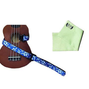 Custom Masterstraps Hawaiian Flower Blue Ukulele Strap Pack w/Bonus Ukulele Cleaning Cloth