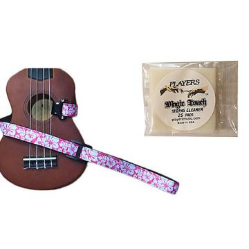 Custom Masterstraps Hawaiian Flower Pink Ukulele Strap Pack w/Bonus Ukulele String Cleaning Wipes