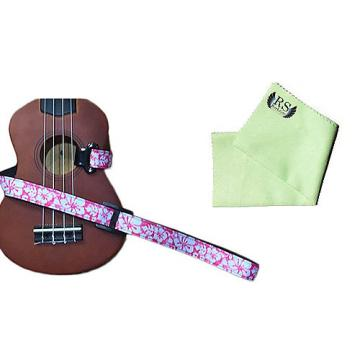 Custom Masterstraps Hawaiian Flower Pink Ukulele Strap Pack w/Bonus Ukulele Cleaning Cloth