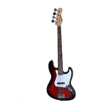"""Custom RED Full Size 43"""" Jazz J Electric Bass Guitar with Gig Bag and Accessories (Includes, Strap, String,"""