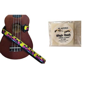 Custom Masterstraps Palm Trees Ukulele Strap Pack w/Bonus Ukulele String Cleaning Wipes