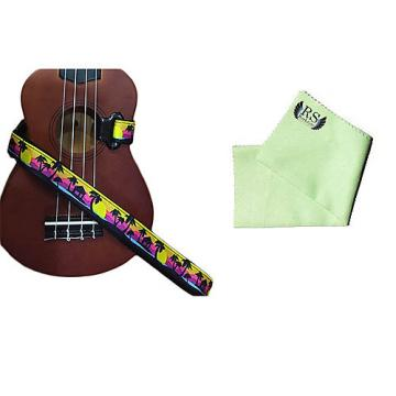 Custom Masterstraps Palm Trees Ukulele Strap Pack w/Bonus Ukulele Cleaning Cloth