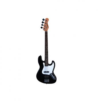 "Custom Full Size 4 String 46"" Jazz J Electric Bass Guitar with Free Gig Bag and Accessories - Black and Whi"