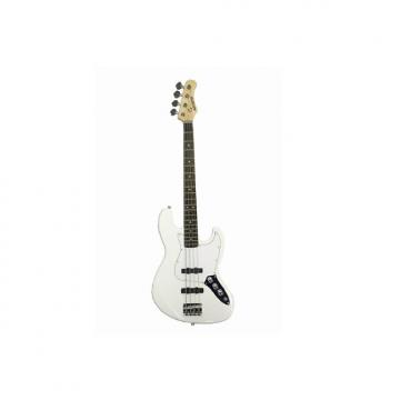 """Custom Full Size 4 String 46"""" White Jazz J Electric Bass Guitar with Free Gig Bag and Accessories - (Includ"""