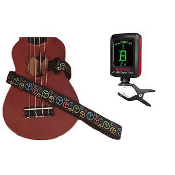 Custom Masterstraps Peace Sign Neon Ukulele Strap Pack w/Meisel Com-80 Clip On Ukulele Tuner