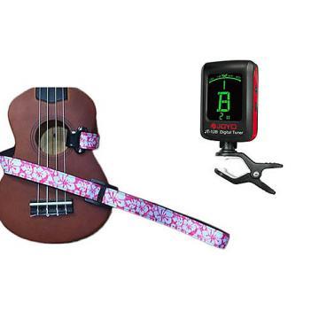 Custom Masterstraps Hawaiian Flower Pink Ukulele Strap Pack w/Meisel Com-80 Clip On Ukulele Tuner