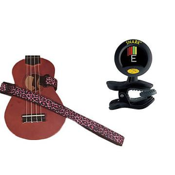 Custom Masterstraps Pink Leopard Ukulele Strap Pack w/SN8 Clip On Super Tight Ukulele Tuner
