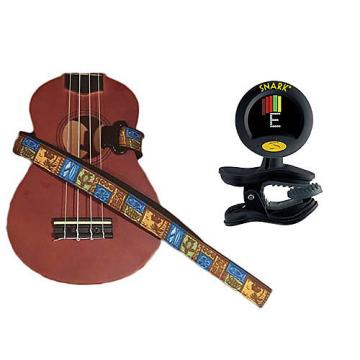 Custom Masterstraps Tiki Hawaiian Ukulele Strap Pack w/SN8 Clip On Super Tight Ukulele Tuner
