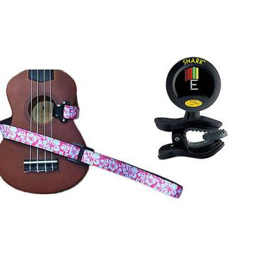 Custom Masterstraps Hawaiian Flower Pink Ukulele Strap Pack w/SN8 Clip On Super Tight Ukulele Tuner