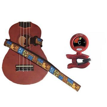 Custom Masterstraps Tiki Hawaiian Ukulele Strap Pack w/SN2Clip On Chromatic Ukulele Tuner