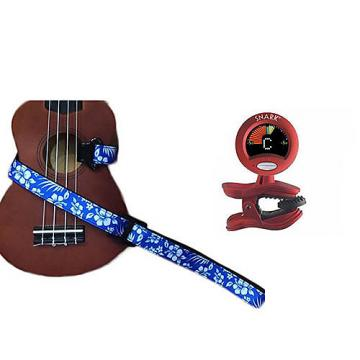 Custom Masterstraps Hawaiian Flower Blue Ukulele Strap Pack w/SN2Clip On Chromatic Ukulele Tuner