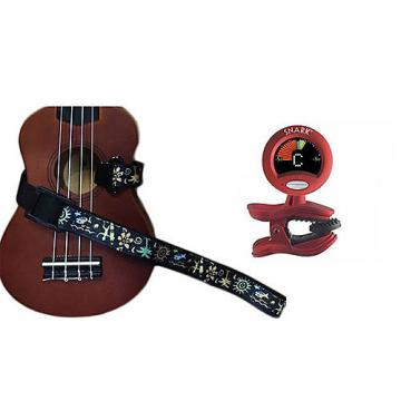 Custom Masterstraps Hawaiian Surfer Ukulele Strap Pack w/SN2Clip On Chromatic Ukulele Tuner