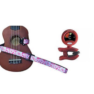 Custom Masterstraps Hawaiian Flower Pink Ukulele Strap Pack w/SN2Clip On Chromatic Ukulele Tuner