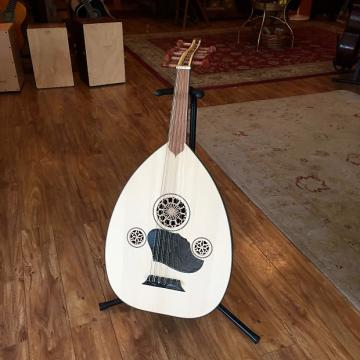 Custom Turkish Oud, Mahogany, with black staves and spruce top