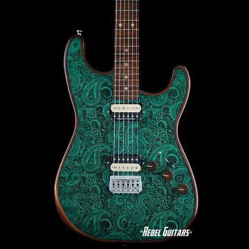 Custom Walla Walla Guitar Seeker Pro Laser Turquoise Paisley Strat Guitar Stratocaster
