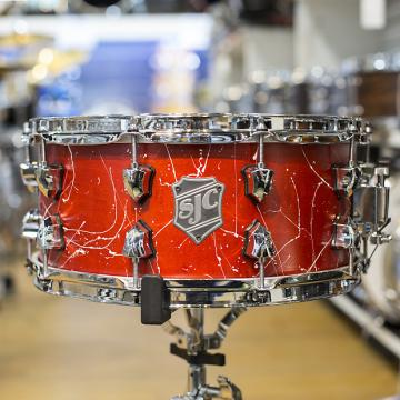 Custom SJC Custom 6.5x14 Maple Snare Drum in Red Splatter Lacquer