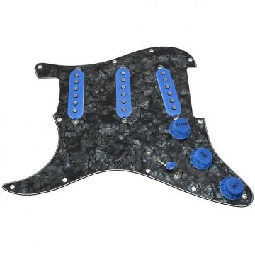 Custom Loaded LEFT HANDED Strat Pickguard, Fender Deluxe Drive, Black Pearl/Blue