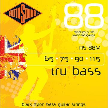 Custom Rotosound RS88M Tru Bass 88 Black Nylon Tapewound Medium Scale Strings 60-115