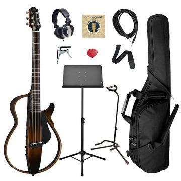 Custom Yamaha SLG200S Steel String Silent Guitar Bundle - Brown Sunburst