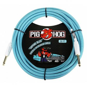 Custom Pig Hog PCH10DB Daphne Blue Woven Instrument Cable 10 Ft