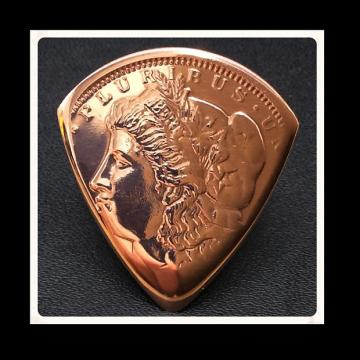 Custom Guitar Plectrum, Pick.  Golden State Mint, Morgan Head Cooper Bullion Coin.