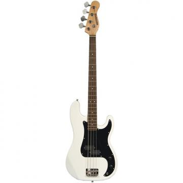 Custom Full Size 4 String White (with Black) Precision P Electric Bass Guitar with Gig