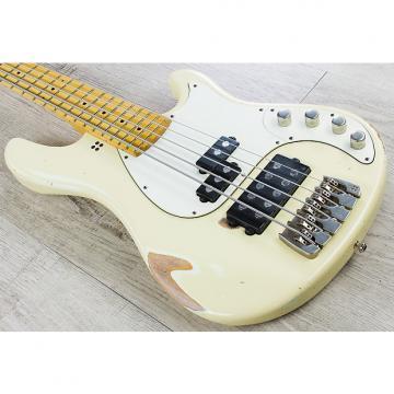 Custom Sandberg California VM-5 5-String Bass, Maple Fretboard, Padded Case - Cream, Hardcore Reserve Aging