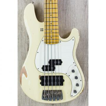 Custom Sandberg California VM-5 5-String Bass, Hardcore Reserve Aging, Cream, Maple Fretboard