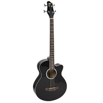 Custom Electric Acoustic Bass Guitar Black Solid Wood Construction With Equalizer New