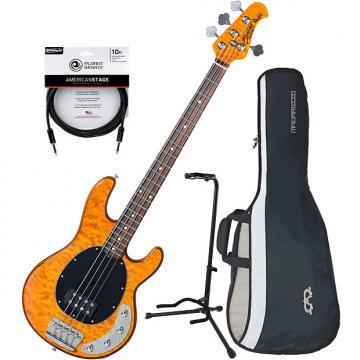 Custom Sterling RAY34 QM 4-String Bass Guitar Antique Maple Bundle