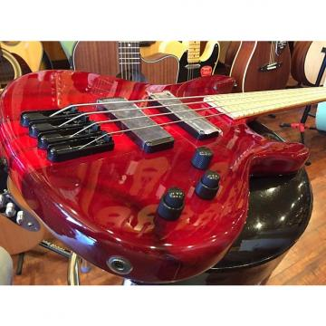 Custom Wolf 4 String Active Jazz Bass Transparent Red Maple Fingerboard