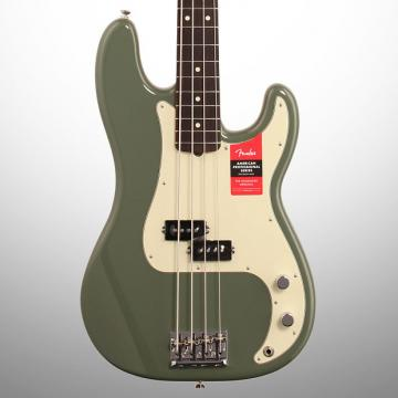 Custom Fender American Pro Precision Electric Bass, Rosewood Fingerboard (with Case), Antique Olive