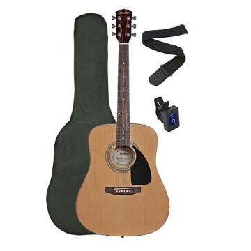 Custom Squier by Fender SA-100 Upgrade Acoustic Guitar Pack with Strap, Gig Bag, and Tuner