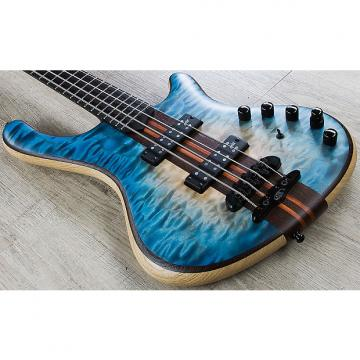 Custom Mayones Prestige Classic 4 Bass, Ebony Fingerboard, Hard Case - Trans Natural Flat Blue Burst