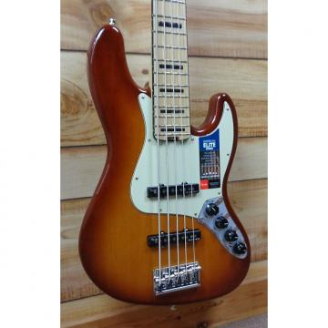 Custom New Fender® American Elite Jazz Bass® V Maple Fingerboard Tobacco Burst w/Case