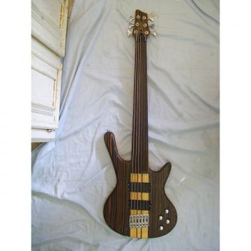 Custom Fretless bass guitar, 6 string, Zebra wood Neck through body
