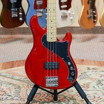 Custom Squier Deluxe Dimension Bass IV - Crimson Red Transparent - Preowned