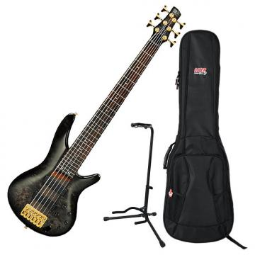 Custom Ibanez SR806 TGB Transparent Gray Burst 6-String Bass Guitar Bundle