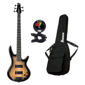 Custom Ibanez GSR206SM 6-String Electric Bass Guitar in Natural Gray Burst With Accessories